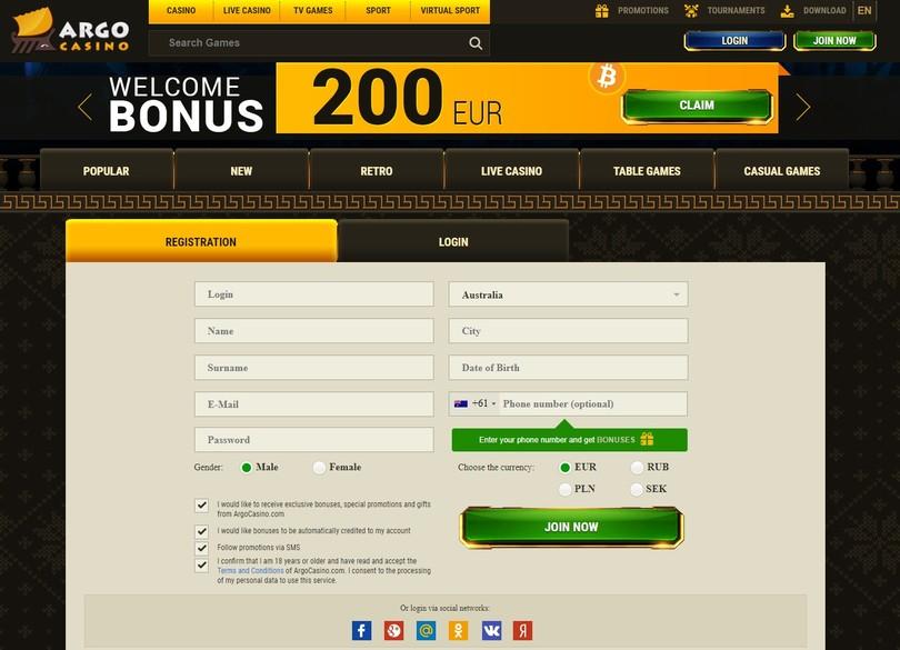registration argo casino online