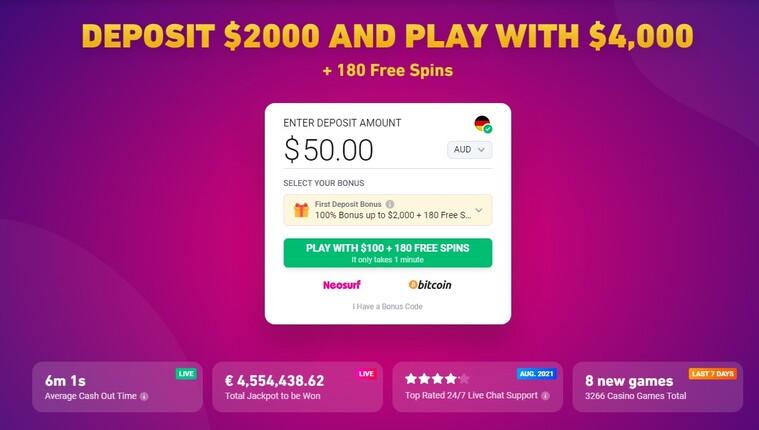 registration casino bonus